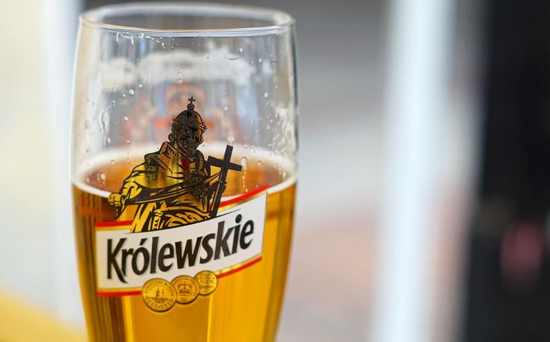 Sampling Polish beer.