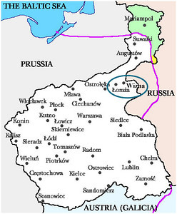 Map of Poland overlapping old Prussia and Russian Poland. Wizna was about 25 miles to the East of the old Prussian/Russian border.