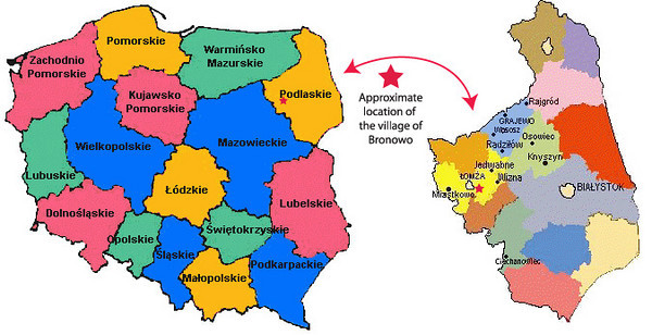 LEFT - Wizna is in the Lomzynski District of Podlaskie Province, which includes the counties of Jedwabne, Lomza, Miastkowo, Nowogrod, Piatnica, Przytuly, Sniadowo, Wizna and Zbojna.  RIGHT - On January 1, 1999, Poland's 49 provinces were consolidated into 16. All but 3 of them were given new names. Most of the former Lomza Gubernia (including Wizna) is now in Podlaskie Province.