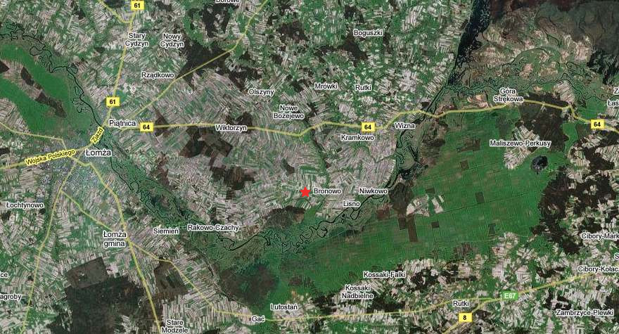 Satellite map of Bronowo.