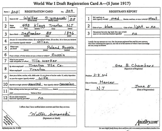 June 5, 1917 452 Klagg Avenue, Trenton, NJ Walter Szymanski WWI draft registration card. (courtesy Lottie Keir Moore)