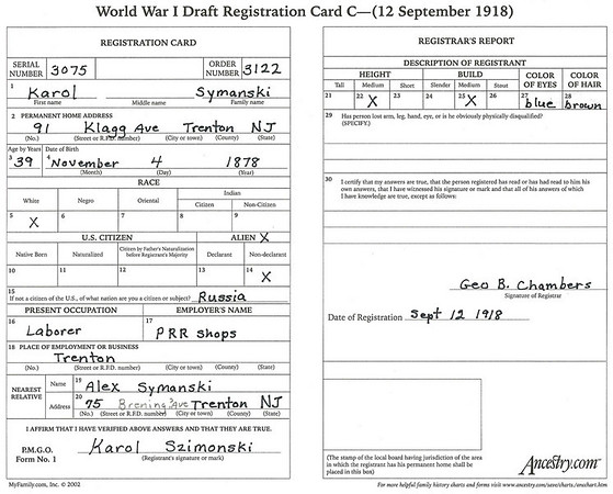 September 12, 1918 91 Klagg Avenue, Trenton, NJ Karol Szimonski draft registration card. (courtesy Lottie Keir Moore)