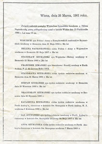 1901 Szymanski family tree that belonged to John Joseph Szymanski, Sr..