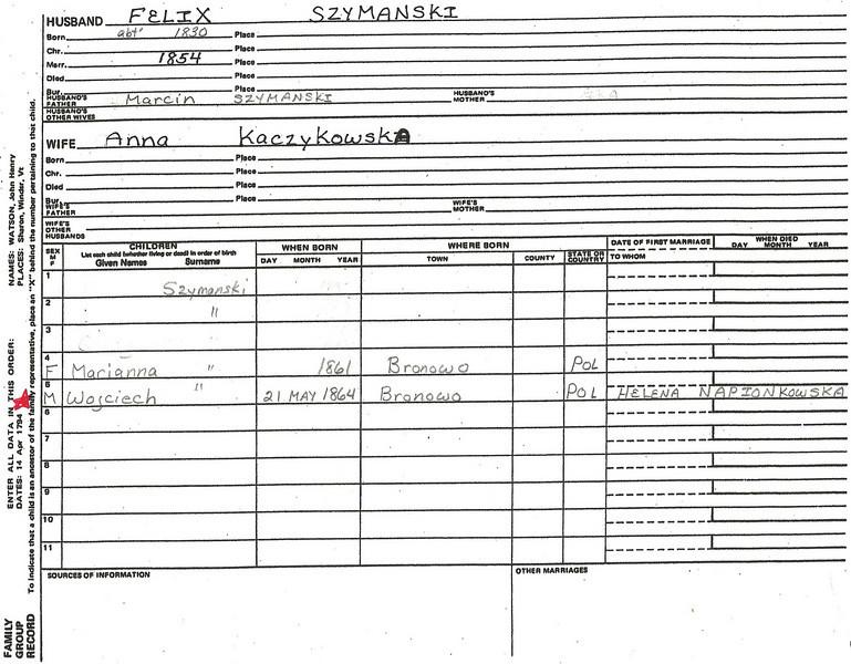 About 1830 Poland Lottie's family group record  for Felix Szymanski.