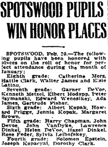 February 20, 1919 Spotswood, NJ Peter Szymanski honor roll .