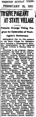 February 20, 1921 Skillman, NJ Bertha Szymanski at state village.