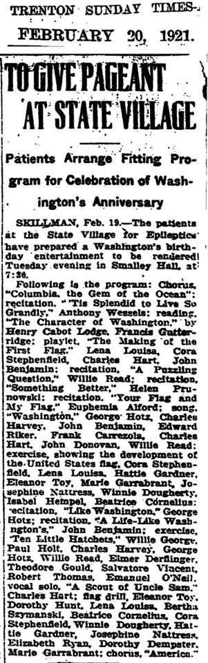 February 20, 1921 Skillman, NJ Bertha Szymanski at state village.