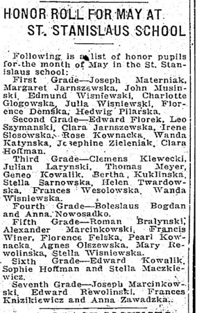 June 21, 1921 Trenton, NJ Leo Szymanski at St. Stanislaus School
