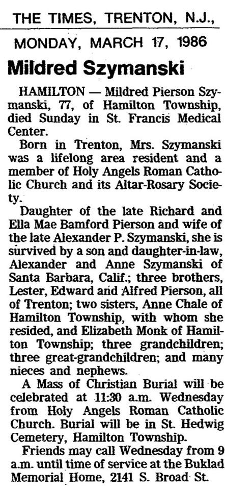 March 17, 1986 Hamilton, NJ Mildred Szymanski obituary.