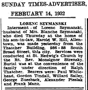 February 14, 1932 Trenton, NJ Lorenc Szymanski obituary.