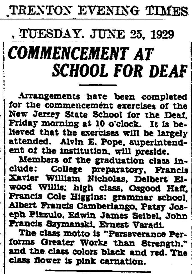 June 25, 1929 Trenton, NJ Francis Szymanski at School for Deaf.