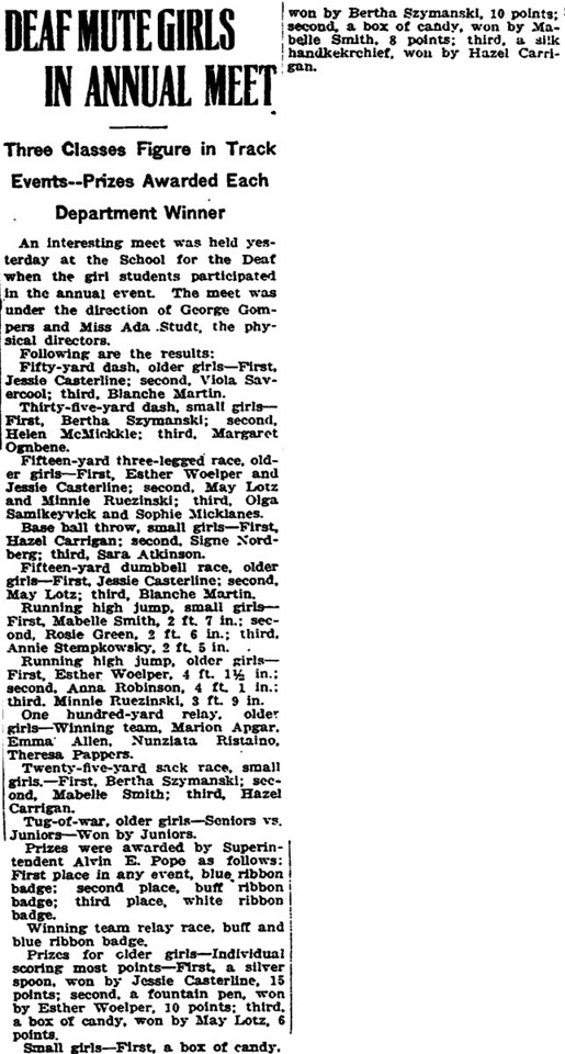 June 3, 1919 Trenton, NJ Bertha Szymanski at School for Deaf.