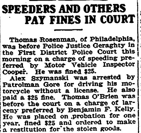 April 9, 1919 Trenton, NJ Alex Szymanski speeding ticket.
