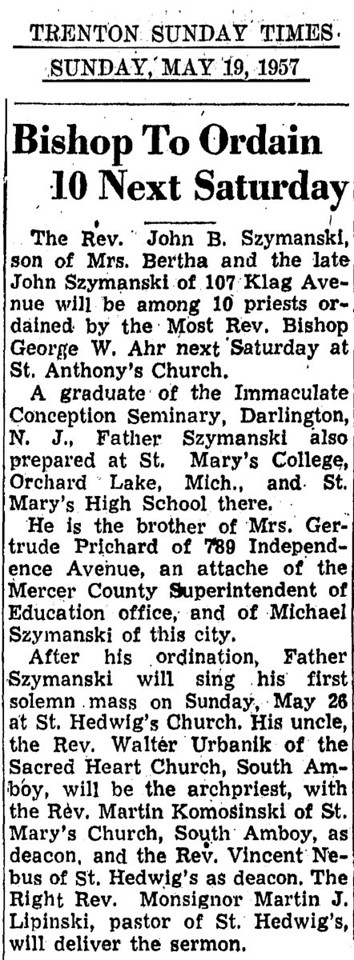 1957 may 19 john b  szymanski ordained