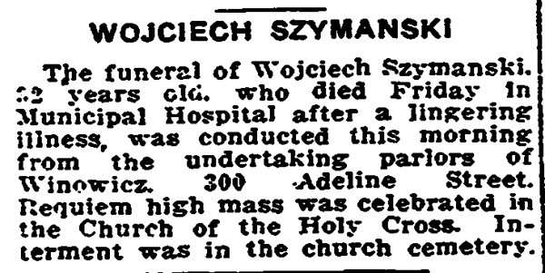 October 16, 1916 Trenton, NJ Wojciech Szymanski obituary.