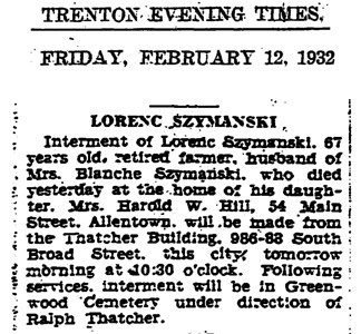 February 12, 1932 Trenton, NJ Lorenc Szymanski obituary.