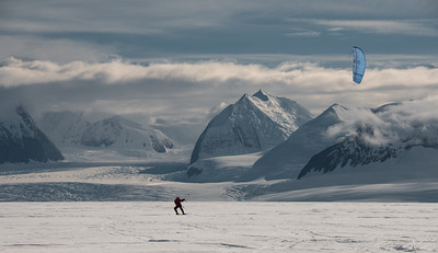 Kite Skiing under the Ellsworth Mountains, Antarctica