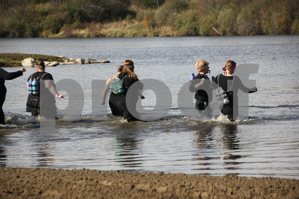 Seen here are: members of the Fort Dodge Dodgers group taking the polar plunge. Sunday, November 1, 2015, Kennedy Park in Fort Dodge held the Polar Plunge fund raiser event for special Olympics.