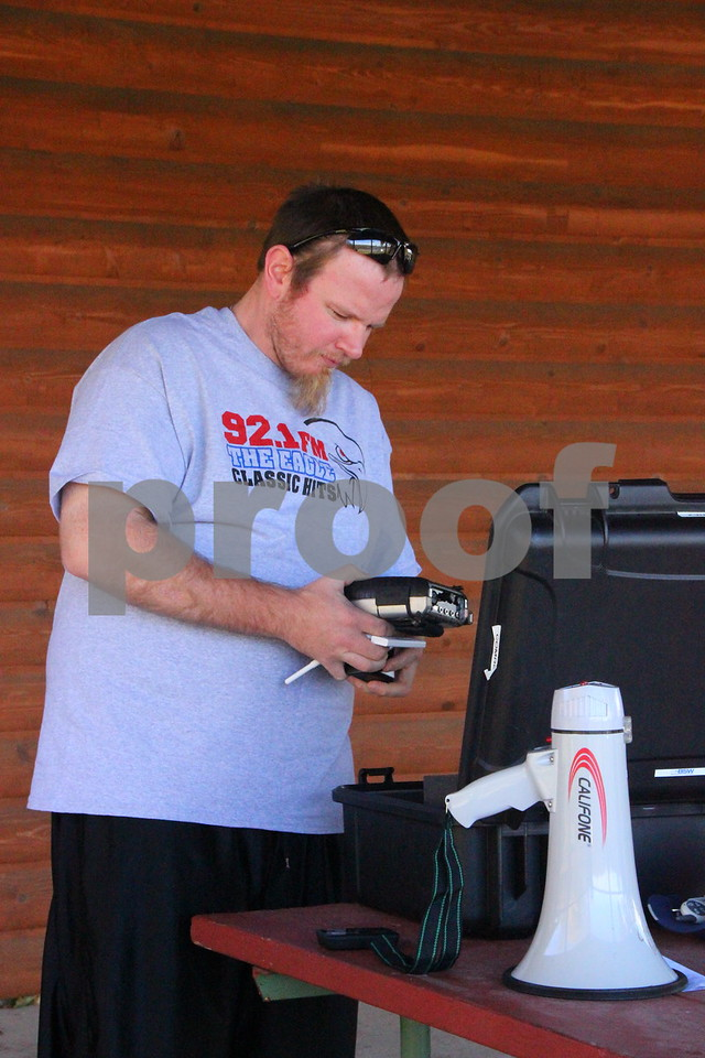 Pictured is: Joshua Mason from  Iowa Central Community College's radio station The Point (88.1). Sunday, November 1, 2015, Kennedy Park in Fort Dodge held the Polar Plunge fund raiser event for special Olympics.