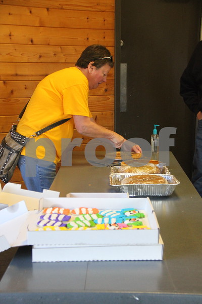 Pictured here is: one of many volunteers helping feed the people at the Polar Plunge, Betty Peterson. Sunday, November 1, 2015, Kennedy Park in Fort Dodge held the Polar Plunge fund raiser event for special Olympics.