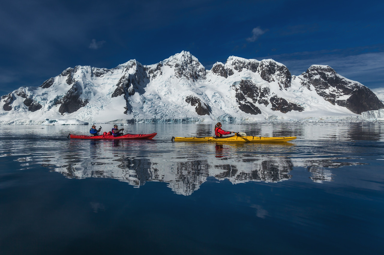 Paddling the calm waters of Paradise Bay, Antarctica