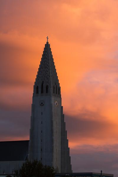 Hallgrímskirkja nestled between sunset and Reykjavik nightrise
