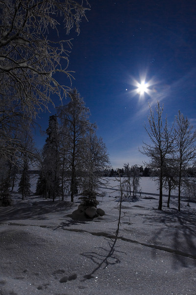 The snow-filled lands around Pulju, Lapland, sparkle as the near full moon illuminates the frozen lake.  To the left of the flared moon lies Jupiter; above, the Pleiades.