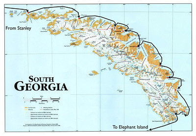 Map of South Georgia showing landing sites