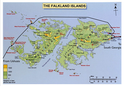 Map Showing Our Landing Spots in Falkland Islands