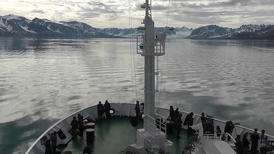 On board the Vavilov approaching an ice free bay for a Zodiac cruise to nearby glaciers.