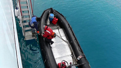 The Quark expedition team loads the Zodiacs for a cruise to nearby glaciers.