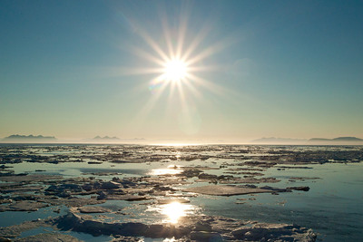 The sun never sets at this high latitude during the three months of Arctic summer.
