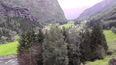 Our train approaches the village of Flam on the Aurlandsfjord in western Norway.