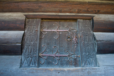 Closeup of a door to the rural farm building in the Open Air Museum in Oslo.