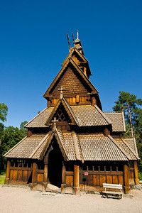 The re-assembled stave church which originated in the 12th century in Gol, Norway. Part of the Open Air Museum in Oslo.