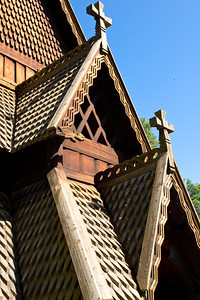 A close-up of the intricate wood work of this 12th century stave church from Gol, Norway.