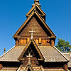 A closer view at the exterior of the 12th century stave church in the Open Air Museum in Oslo.