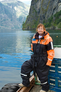 "One of ""yours truly"" in a flotation suit for our ""fjord safari"""