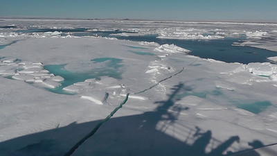 The Vavilov moves slowly through heavy pack ice in the Hinlopen Strait in search of polar bears.