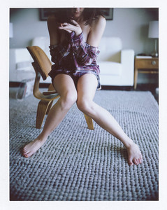 A mid-century-modern boudoir photo taken in Phoenix on film by a Phoenix boudoir photographer.