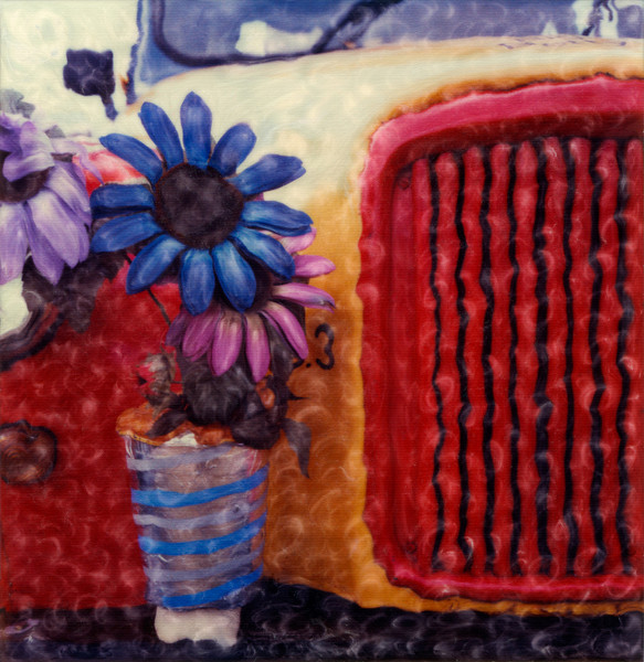 Flowers and car belonging to a clown