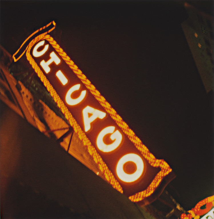 Chicago Theatre sign. Even with the blur from long shutter speed, I like the look of this because of the colors. Oh, Polaroid 600 film, how I miss you... :(