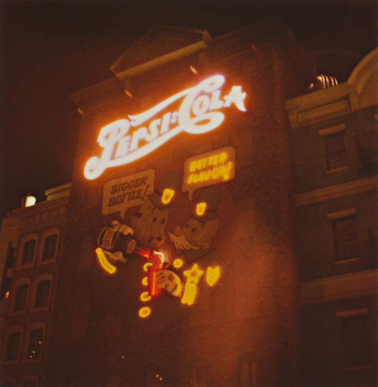 I used to be a chronic pop drinker, and Pepsi was my pop of choice. These days water is more my speed, but I still love Pepsi memorabilia. I also love taking photos of lights or neon at night with Polaroid 600 film, so this photo hit all those buttons. :) I took this during our short stay in Vegas on our way to the Bay Area from the Midwest, or The Big Move, as I would call it. One day is not enough to see much in Vegas, so we'll have to come back again sometime.