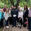 Cadet Nicholas McLaughlin poses with his family after the Fitchburg State University's 1st recruit officer course graduation on Thursday September 13, 2018. From left is his grandmother Terry Piermarini, Soon to be brother-in-law Mathias Goncalves, his sister Kelly McLaughlin, his mom nancy Robillard, step dad Dteve Robillard, step grandfather Ed Robillard, step grandmother Sheila Roillard and Paster Dave and Kristi Tralongo from the Chair City Church in Gardner. SENTINEL & ENTERPRISE/JOHN LOVE