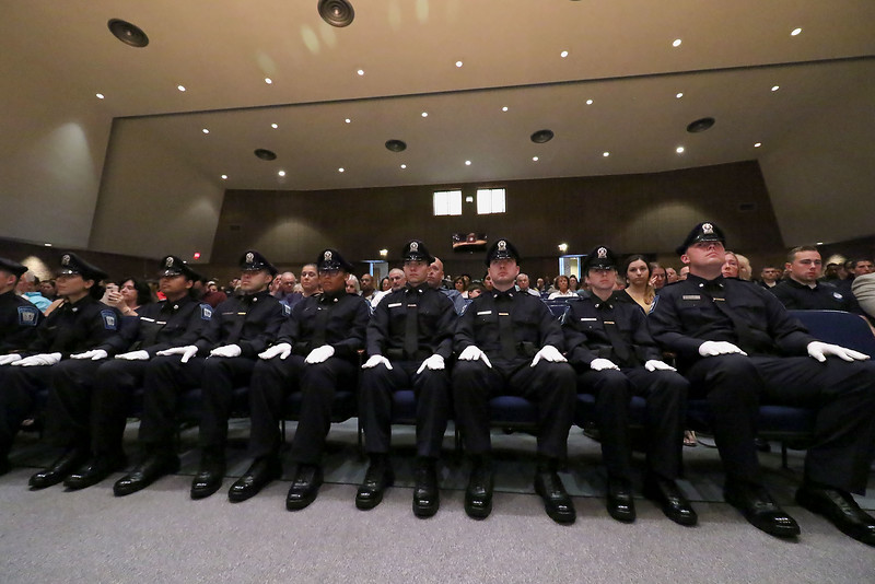 The nine graduating cadets listen to the speakers during the Fitchburg State University's 1st recruit officer course graduation on Thursday September 13, 2018. SENTINEL & ENTERPRISE/JOHN LOVE