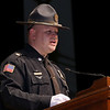 Lead Staff Instructor Lt. James West addresses the crowd and the nine graduating cadets during the Fitchburg State University's 1st recruit officer course graduation on Thursday September 13, 2018. SENTINEL & ENTERPRISE/JOHN LOVE