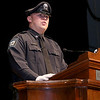 Class Leader Cadet Ryan Richard addresses the crowd and his fellow graduating cadets during the Fitchburg State University's 1st recruit officer course graduation on Thursday September 13, 2018. SENTINEL & ENTERPRISE/JOHN LOVE
