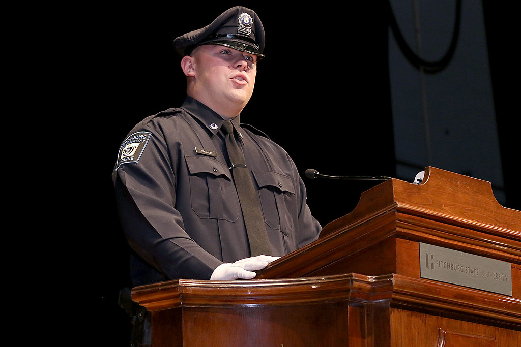 . Class Leader Cadet Ryan Richard addresses the crowd and his fellow graduating cadets during the Fitchburg State University\'s 1st recruit officer course graduation on Thursday September 13, 2018. SENTINEL & ENTERPRISE/JOHN LOVE