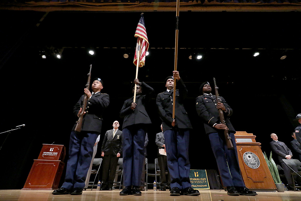 . The ROTC Color Guard presents the American Flag during the Fitchburg State University\'s 1st recruit officer course graduation on Thursday September 13, 2018. SENTINEL & ENTERPRISE/JOHN LOVE
