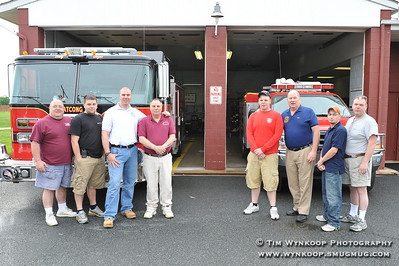 Fathers and Sons of Lopatcong Township Fire Company #2: Left to Right: Tim and Tim Weiss, Kevin and Dave Jiorle, Keith and Bill Tickle and Pete Kopecky Junior and Senior.
